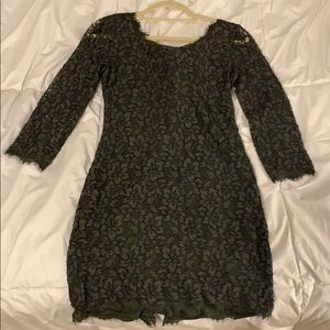 Lace DVF Dress in olive green